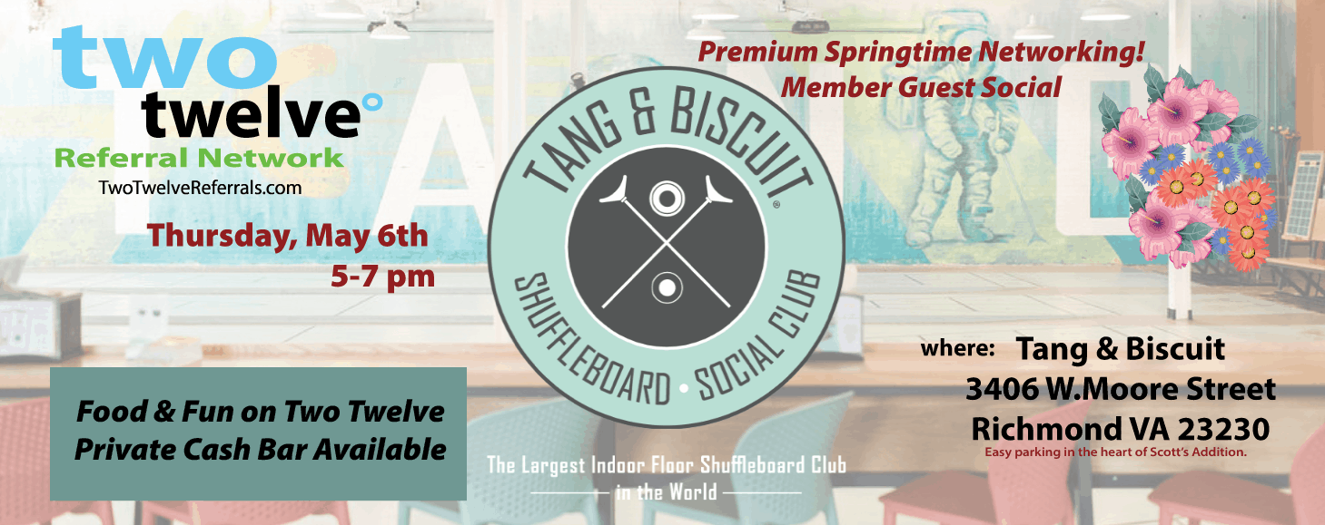 May 6th Member Guest Social at Tang & Biscuit in Scotts Addition.  Come and join us!